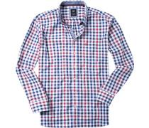 Herren Hemd Regular Fit Oxford marine-braun kariert blau