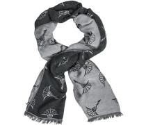 Schal Wolle graublau gemustert
