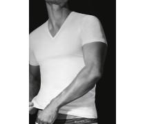 T-Shirt Baumwoll-Stretch weiß--schwarz