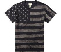 T-Shirt Baumwolle indigo taupe gemustert