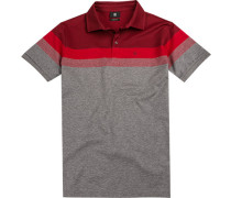 Polo-Shirt Polo Modern Fit Baumwoll-Jersey -grau gemustert