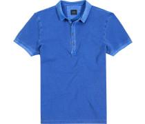 Polo-Shirt Polo Baumwoll-Piqué royal meliert