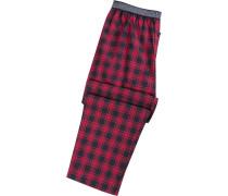 Schlafanzug Pyjamahose, Baumwolle, dunkelblau-rot kariert