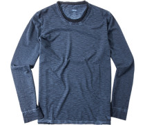 Herren T-Shirt Longsleeve Baumwolle blaugrau meliert