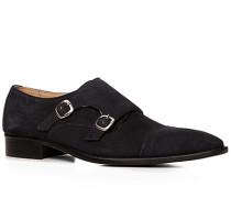 Schuhe Doppelmonkstraps, Veloursleder, nachtblau