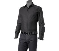 Hemd, Slim Fit, Popeline, anthrazit-schwarz gemustert