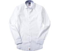 Herren Hemd Modern Fit Strukturgewebe weiß