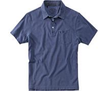 Polo-Hemd Baumwoll-Jersey jeansblau