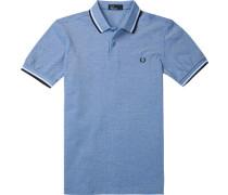 Polo-Shirt Polo Baumwoll-Piqué -weiß meliert