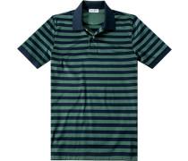 Polo-Shirt Polo Baumwoll-Jersey marine-grün gestreift