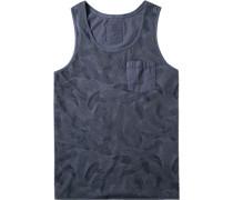 Herren Shirt Baumwolle graublau gemustert
