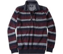 Pullover Troyer Baumwoll-Mix bordeaux-blau-grau gestreift