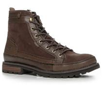 Schuhe Schnürstiefeletten Velours-Glattleder dunkelbraun