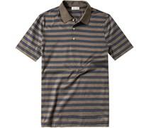 Herren Polo-Shirt Polo Baumwoll-Jersey graublau-graubraun gestreift