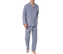 Schlafanzug Pyjama, Flanell, navy kariert
