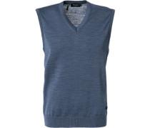 Pullover Pullunder, Schurwolle, rauchblau