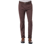 Hose Chino Modern Fit Baumwolle bordeaux
