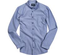 Hemd, Slim Fit, Baumwolle, taubenblau gemustert