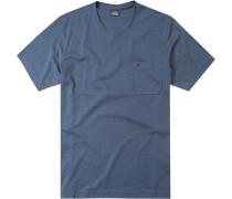 T-Shirt Baumwolle navy meliert