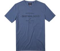 T-Shirt Modern Fit Baumwolle rauchblau