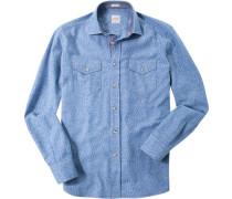 Herren Hemd Modern Fit Baumwolle jeansblau meliert grau