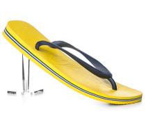 Schuhe Zehensandalen, Gummi, navy-zitronengelb