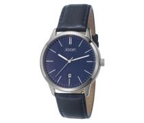 Herren Uhren  Uhr Edelstahl-Lederband nachtblau