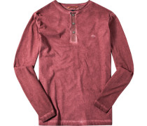 Herren T-Shirt Longsleeve Baumwolle rot
