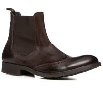 Schuhe Chelsea Boots, Leder-Veloursleder, dunkelbraun