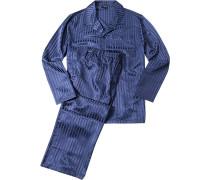 Herren Schlafanzug Pyjama Mischgewebe kobalblau gestreift