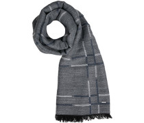 Schal Wolle-Modal rauchblau gemustert