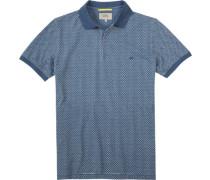 Polo Baumwoll-Piqué jeansblau gemustert