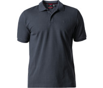 Polo-Shirt Polo Tailored Fit Baumwoll-Piqué graublau