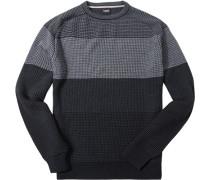 Herren Pullover Woll-Mix schwarz-anthrazit gestreift