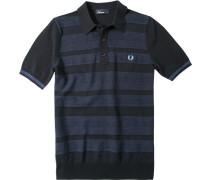 Polo-Shirt Polo Baumwoll-Strick navy gestreift