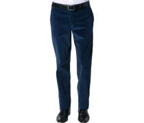 Herren Hose Cordhose Contemporary Fit Baumwoll-Stretch saphirblau