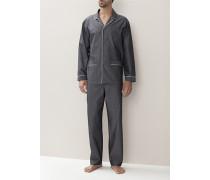 Schlafanzug Pyjama Baumwolle mercerisiert anthrazit
