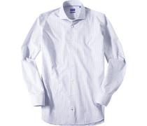 Hemd Slim Fit Baumwolle navy-weiß gemustert