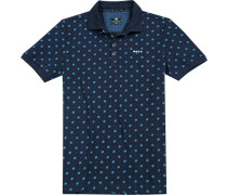 Polo-Shirt Polo Baumwoll-Piqué dunkelblau floral