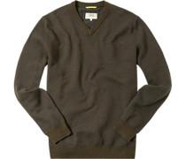 Pullover Baumwolle dunkelbraun-dunkelblau gemustert