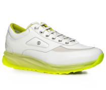 Herren Schuhe Sneaker Kalbleder weiß weiß,gelb