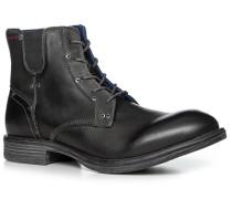 Herren Schuhe Schnürstiefeletten Leder schwarz schwarz,blau