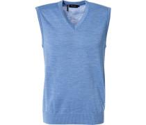 Pullover Pullunder Schurwolle himmelblau