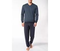 Herren Schlafanzug Pyjama Baumwolle tintenblau-türkis gemustert