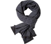 Schal Wolle rauchblau-schwarz gemustert