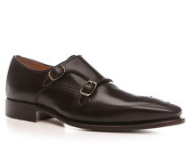 Herren Schuhe Doppelmonkstraps Leder dunkelbraun braun,beige
