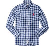 Hemd Regular Fit Baumwolle königsblau-schwarz kariert