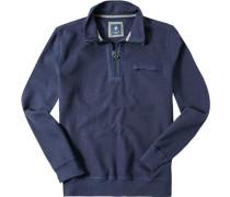 Herren Pullover Troyer Baumwolle tintenblau