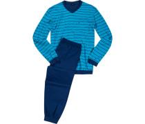 Schlafanzug Pyjama Baumwolle türkis-navy gestreift