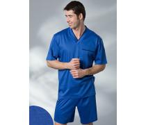 Herren Schlafanzug Pyjama Baumwolle in 4 Farben blau,rot